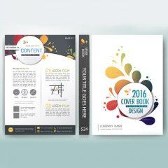 دانلود وکتور لایه باز جلد کتاب تجاری با طرح گل