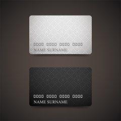 دانلود وکتور گرافیکی کارت ویزیت لایه باز طرح کارت عابربانک یک رو در دو رنگ مشکی و سفید