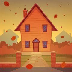 طرح وکتور منظره کارتونی خانه با تم پاییزی