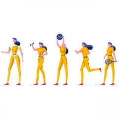 دانلود وکتور کاراکتر دختر ورزشکار برای موشن گرافیک و انیمیشن