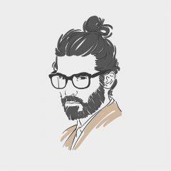دانلود وکتور لایه باز پرتره چهره سه رخ مرد عینکی مناسب بوتیک و آرایشگاه