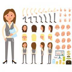 دانلود کاراکتر وکتور خانم حسابدار برای موشن گرافیک و انیمیشن