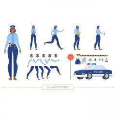 تصویر وکتور لایه باز پک کامل پلیس خانم برای موشن گرافیک و انیمیشن