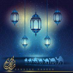 دانلود تصویر وکتور ماه مبارک رمضان با پس زمینه آبی