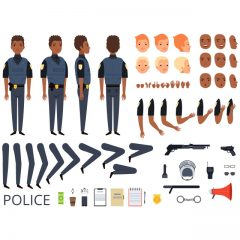 دانلود کاراکتر پک کامل سرباز سیاهپوست آقا برای موشن گرافیک و انیمیشن