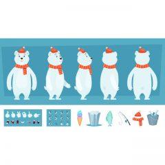 دانلود پک کامل کاراکتر خرس سفید رنگ برای موشن گرافیک و انیمیشن