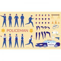 فایل وکتور ست کامل کاراکتر مرد پلیس برای موشن گرافیک و انیمیشن