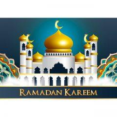 ماه مبارک رمضان با پس زمینه مسجد