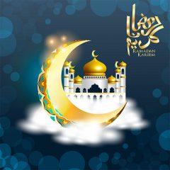 طرح ماه مبارک رمضان با پس زمینه مسجد و ماه