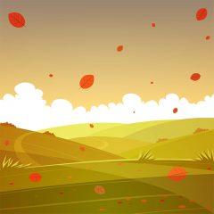 منظره کارتونی دشت پاییزی و ابر سفید