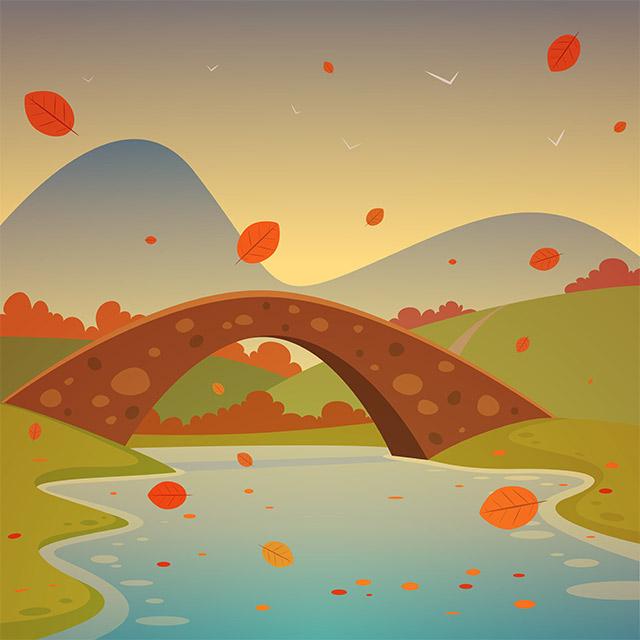 دانلود وکتور لایه باز زمینه پاییزی رودخانه و پل