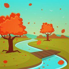 وکتور کارتونی لایه باز درختان پاییزی رودخانه و پل چوبی