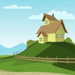 وکتور لایه باز منظره سرسبز و خانه با حصار چوبی