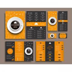 دانلود وکتور لایه باز طراحی منو کافی شاپ با طراح های ویژه و رنگبندی قرمز و نارنجی