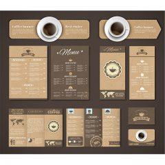 دانلود وکتور لایه باز طراحی منو کافه رستوران با فونت خاص با ترکیب رنگ قهوه ای و شکلاتی