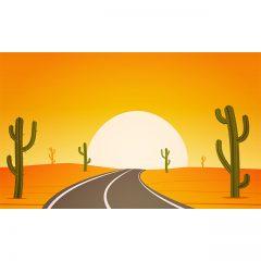 وکتور کارتونی جاده بیابانی ، درخت کاکتوس و خورشید