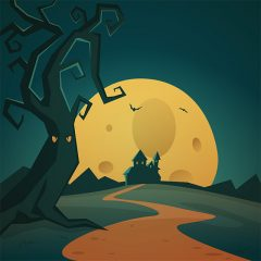 پس زمینه کارتونی لندسکیپ با تم هالووین کلبه و خفاش