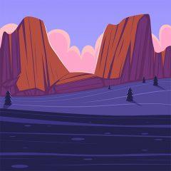 پس زمینه کارتونی لندسکیپ کوهستان
