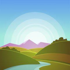 وکتور لایه باز لندسکیپ کوهستان ،دشت و رودخانه