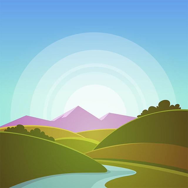 دانلود وکتور لایه باز لندسکیپ کوهستان ،دشت و رودخانه