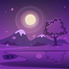 تصویر کارتونی لایه باز قله برفی و قایق با تم شب