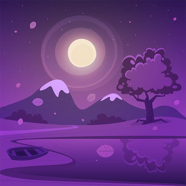 دانلود تصویر کارتونی لایه باز قله برفی و قایق با تم شب