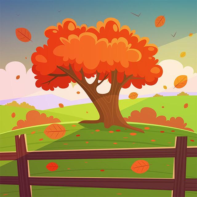 دانلود وکتور لندسکیپ کارتونی تک درخت پاییزی و برگ ریزان
