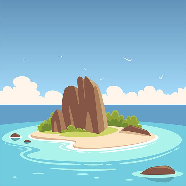 دانلود وکتور لایه باز کارتونی از جزیره استوایی
