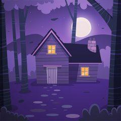 پس زمینه کارتونی کلبه ، ماه و ستاره با تم شب