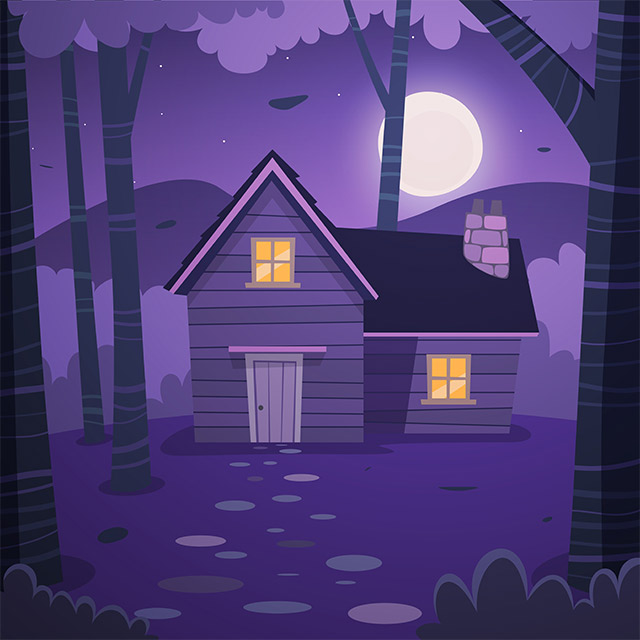 دانلود پس زمینه کارتونی کلبه ، ماه و ستاره با تم شب