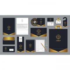 وکتور لایه باز ست ابزار شرکتی رنگبندی مشکی و طلایی