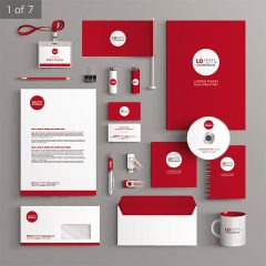 دانلود تصویر وکتور ابزار شرکتی با رنگ جذاب قرمز