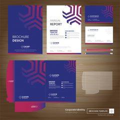 طرح وکتور لایه باز ست اداری با طراحی زیبا و رنگبندی آبی و صورتی
