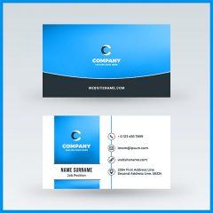وکتور لایه باز کارت ویزیت 2طرفه زمینه سفید آبی