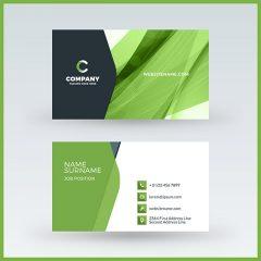 وکتور لایه باز کارت ویزیت با طرح آبسترکت و زمینه سبز