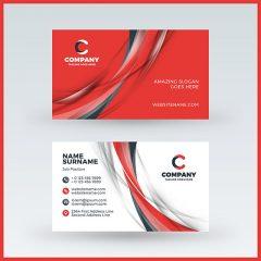 وکتور لایه باز کارت ویزیت خارجی 2طرفه زمینه قرمز سفید