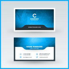 وکتور کارت ویزیت لایه باز با طرح نامه و زمینه آبی