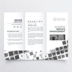 دانلود وکتور لایه باز بروشور شرکتی سیاه و سفید با طراحی ساده