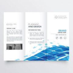 دانلود وکتور لایه باز بروشور شرکتی آبی رنگ
