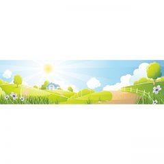 دانلود فایل لایه باز وکتور کارتونی منظره زیبای روستایی سرسبز