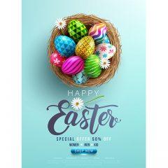 دانلود طرح وکتور تبریک عید پاک به سبک تخم مرغ رنگی