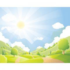 دانلود طرح لایه باز وکتور کارتونی منظره زیبای روستایی سرسبز