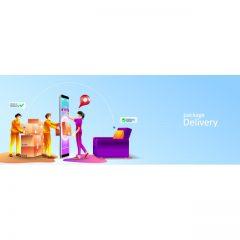 دانلود وکتور خرید آنلاین تحویل سریع در محل Package Delivery با تصاویر مرتبط