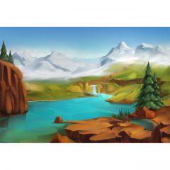 دانلود فایل لایه باز وکتور بک گراند کارتونی طبیعت ، رودخانه و کوه
