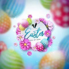 دانلود تصویر وکتور زیبا لایه باز تبریک عید پاک با طرح محو رنگ رنگی