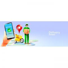 دانلود وکتور تحویل به موقع در محل Delivery Success با تصویر پیک موتوری