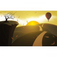 دانلود فایل لایه باز وکتور کارتونی غروب در کوهستان