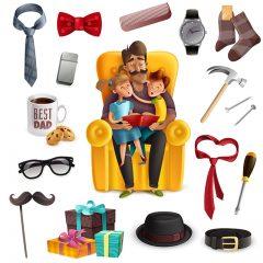 دانلود وکتور تصویر پدر در کنار فرزندان به همراه کادوهای روز پدر