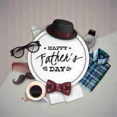 دانلود تصویر تبریک روز پدر با تصاویر اکسسوری و خط نوشتاری خاص Happy Father's Day