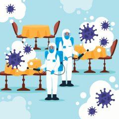طرح وکتور لایه باز ضد عفونی عمومی از ویروس کرونا